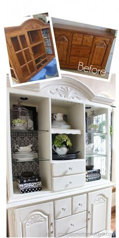 China Cabinet Makeover mit Annie Sloans Kreidefarbe - Diy Home Dekor Refurbished Furniture, Paint Furniture, Repurposed Furniture, Furniture Projects, Furniture Makeover, Home Furniture, Kitchen Furniture, Furniture Stores, Cheap Furniture
