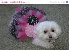 Pink & Black LEXI Dog Tutu Dress with Tulle by JustForBella, $44.00