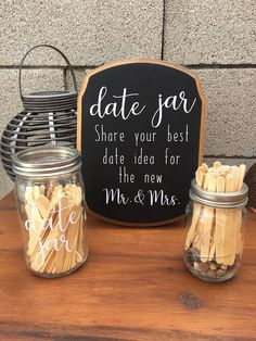 jar wedding favors Wedding Date Jar, Wedding or Bridal Shower Chic Bridal Showers, Disney Bridal Showers, Bridal Shower Decorations, Bridal Shower Favors, Wedding Favours, Wedding Decorations, Backyard Bridal Showers, Coffee Bridal Shower, Mason Jar Wedding Favors