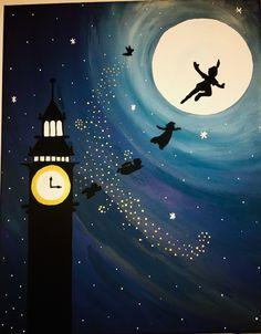 Disney Canvas Paintings, Disney Canvas Art, Disney Art, Peter Pan Painting, Peter Pan Art, Peter Pan Drawing, Tarjetas Diy, Family Painting, Pastel Art