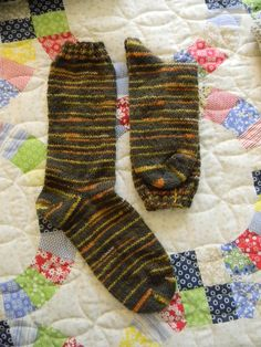 Fall color socks using short rows for both the heel and the toe.