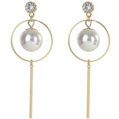 Big Pearl Pendant Earrings (12 CHF) ❤ liked on Polyvore featuring jewelry, earrings, pearl earrings, white pearl earrings, pearl pendant jewelry, pendant earrings and pearl jewelry
