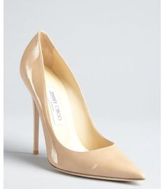 Jimmy Choo Beige Nude Patent Leather Anouk Pointed Toe Stilettos