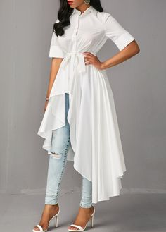 Belted Irregular Shirt Dress - - From dream wedding dresses and party dresses to perfect prom dresses and evening dresses, you're sure to find a fabulous style to match every occasion. Indian Fashion Dresses, Girls Fashion Clothes, Hijab Fashion, Fashion Outfits, Fashion Ideas, Women's Fashion, Fashion Trends, Stylish Dress Designs, Stylish Dresses