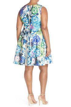 Eliza J Floral Print Scuba Fit & Flare Dress (Plus Size)