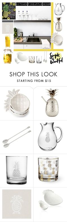 """Kitchen Pineapple Decor"" by taci42 ❤ liked on Polyvore featuring interior, interiors, interior design, home, home decor, interior decorating, Jodhpuri, Marinette Saint-Tropez, Insten and Williams-Sonoma"