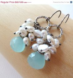 SALE Tiffany blue aqua Chalcedony, Pearl cluster, Oxidized S.Silver Artisan earrings. Cluster. Dangle. Drop. Jewelry. Earrings via Etsy