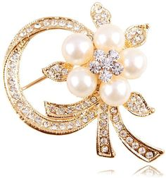 Shein Faux Pearl Decorated Flower Brooch