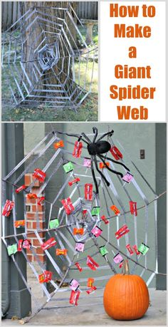DIY Giant Spider Web Learn how to make a Giant Spider web for Halloween decor! Easy tutorial uses st Halloween Spider, Halloween Games, Halloween Candy, Holidays Halloween, Easy Halloween, Spider Costume, Homemade Halloween, Halloween Activities, Halloween 2020