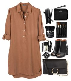 """""""Untitled #424"""" by meghanrmorris ❤ liked on Polyvore featuring United by Blue, Chloé, Urbanears, Maison Margiela, Acne Studios, Bobbi Brown Cosmetics and The Body Shop"""