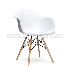 Eames Replica DAW- Dining Side Chair White MAPLE LEGS (DC310)