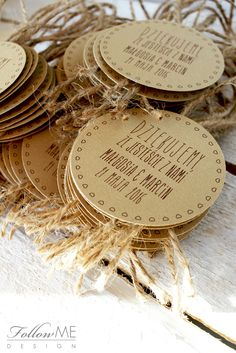 Etykiety na butelki / Rustykalne Dekoracje ślubne od FollowMe DESIGN / Wedding Labels / Rustic Wedding Decorations & Details by FollowMe DESIGN