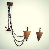 arrow head earrings and ear cuff with dangling bird