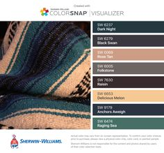 I found these colors with ColorSnap® Visualizer for iPhone by Sherwin-Williams: Dark Night (SW 6237), Black Swan (SW 6279), Rose Tan (SW 0069), Folkstone (SW 6005), Raisin (SW 7630), Delicious Melon (SW 6653), Anchors Aweigh (SW 9179), Raging Sea (SW 6474).