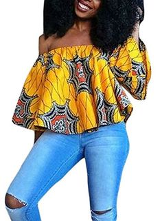Annflat Women's Colorful African Print Off the Shoulder Casual Blouse Tops Medium Multi