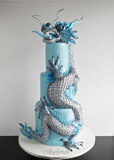 Silver Dragon Cake by Cake Lava - For all your cake decorating supplies, please visit craftcompany.co.uk