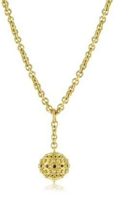Annie Fensterstock Orb 22k and 18k Gold, Ruby and Diamond Necklace