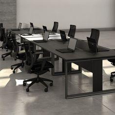 Estação de Trabalho com pés em alumínio anodizado preto. Muita sofisticação para escritórios modernos! by RS Design