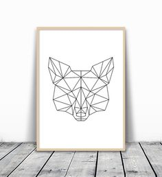 This is an instant downloadable print, featuring black and white geometric fox head.   HOW TO PRINT:  There are some great local and online print studios that can produce really striking and cost effective wall art at really affordable prices. The online service providers include Shutterfly, Snapfish, Photobox, 48HourPrint.com, etc. Besides most local Staples and Costco are now offering large-format printing from JPG or PDF. You can also choose to print at home, if you have a printer.   5…
