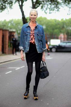 Soo Joo looking as beautiful as ever in her Jeremy Scott tee, black mini skirt, and distressed denim jacket. #LMC #SS15