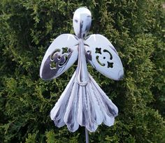 Angel Garden or Planter Pick Stake Silverware Art via Etsy