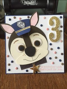 Chase from Paw Patrol Handmade cards Punch Art Homemade Birthday Cards, Birthday Cards For Boys, Homemade Cards, Boy Cards, Kids Cards, Cute Cards, Paw Patrol Birthday Card, Kids Punch, Punch Art Cards