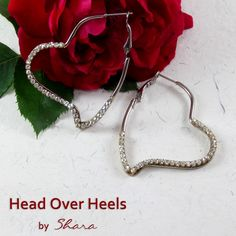 """""""Shine with these dazzling hearts earrings. Be the sparkle of your beau's eyes. Guys, express your feelings to that special someone with these earrings. Heart Earrings, Hoop Earrings, Head Over Heels, Handmade Jewelry, Handmade Gifts, Hearts, Sparkle, Eyes, Gift Ideas"""