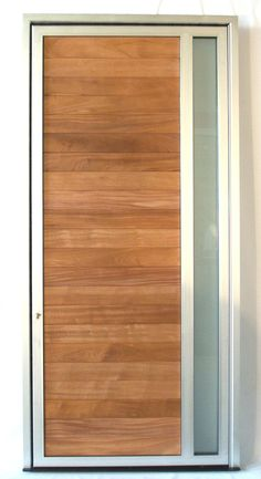 Aluminum Pivot Door with Wood insert and glass Pivot Doors, Entry Doors, Front Doors, Windows And Doors, Aluminium Door Design, Aluminium Doors, Modern Entry Door, Wood Insert, Window Replacement