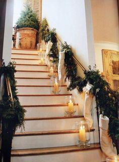 Beautiful Christmas stairs by Pam Pierce Noel Christmas, All Things Christmas, Winter Christmas, Christmas Crafts, Christmas Candles, Simple Christmas, Modern Christmas, Christmas Stockings, Rustic Christmas