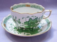 HEREND Indian basket green teacup and saucer