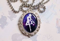 Sailor Moon Transformation Silhouette Cameo Necklace. $20.00.