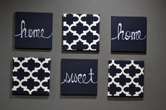 Home Sweet Home Wall Art Pack of 6 Canvas Wall Hanging Set Painted & Fabric Upholstered Living Room Decor Modern Chic Navy White Moroccan
