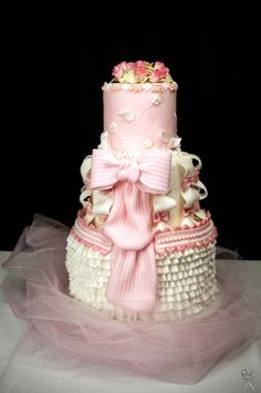 Gorgeous pink cake!   Thinking ahead.   Q's 1st birthday??