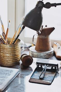 Old + Rusty + Antiquey Recycled Desk Organizers — What a fun way to style a desk!   |   Seesaw Designs