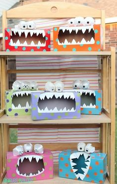Tissue Monster Treat Box. Enlarge the hole of an empty tissue box and turn in on its side. Cut two jagged pieces of white paper and glue to the top and bottom of the hole for monster teeth. Cut sections out of an egg carton to be used as eyes, draw on pupils, and glue to the top. Paint the box in a fun and colorful way and fill with goodies!