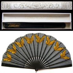 French painted black silk fan with golden butterflies, circa 1890.