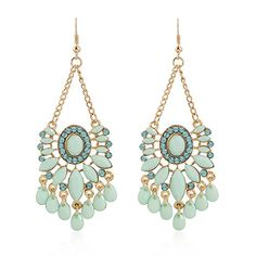 Earrings  SODIALRWomen Bohemian Rhinestone Crystal Diamond Wedding Pendant Earrings Stud Gift Green7 -- Read more at the image link.-It is an affiliate link to Amazon.