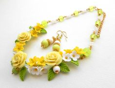 Roses jewelry  Lemon Green jewelry  Flower by insoujewelry on Etsy, $56.00