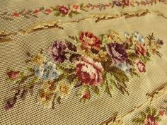 """40""""x23"""" PREWORKED Needlepoint Canvas French Victorian Style Violet Rug Bench 
