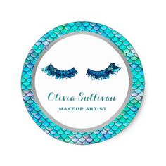 mermaid glitter lashes makeup artist on fish scale classic round sticker - glamour gifts diy special unique