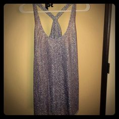 Shimmery Silver Top XL, super cute to dress up or down! Worn once! From a smoke free home! See through, thin/very lightweight. No trades. Maurices Tops