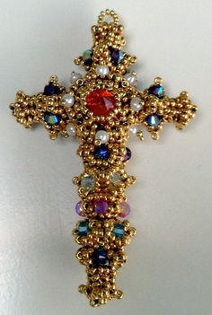 Byzantine-Cross - Reminiscent of the Pala d'Oro in Venice, the first Byzantine Cross I made using gold-coated seed beads, encrusted with seed pearls and crystals.