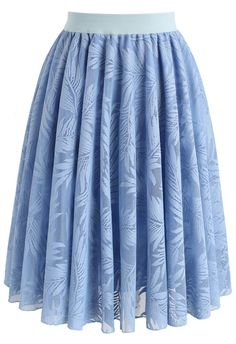 Palm Tree Jungle Mesh Skirt in Baby Blue- New Arrivals - Retro, Indie and Unique Fashion
