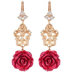 Dolce & Gabbana Crystal-Embellished Earrings (€585) ❤ liked on Polyvore featuring jewelry, earrings, accessories, jewels, gold, gold jewellery, earring jewelry, yellow gold earrings, gold earrings jewelry and yellow gold jewelry