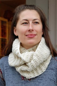 The Darby Cowl. Have made this holding two strands of Berroco Vintage brown.