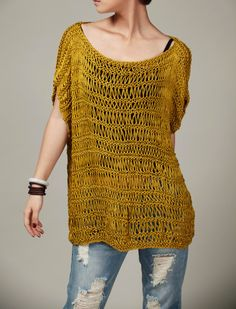 Hand Knitted sweater Silk Cotton Tunic in Mustard Yellow by MaxMelody on Etsy https://www.etsy.com/listing/217062162/hand-knitted-sweater-silk-cotton-tunic