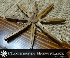 Clothespin Snowflake Christmas Ornaments, by Owen Family Six, featured on… Christmas Ornaments To Make, Christmas Projects, All Things Christmas, Holiday Crafts, Christmas Decorations, Christmas Ideas, Snow Crafts, Christmas Recipes, Cowboy Christmas