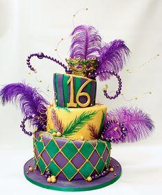 Mardi Gras Birthday Cake by Lulu Scarsdale