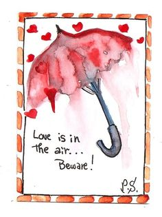 ACEO Valentine Hearts Umbrella Rain Love in the Air Painting Art by Penny StewArt #Abstract