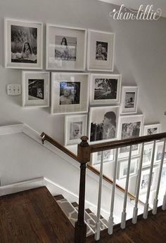 Staircase wall is often a cold corner overlooked by homeowners. But with a little creativity, your staircase wall can be transformed from an ignored area to an attractive focal point. The staircase wall is just like a blank canvas and you can displa Gallery Wall Staircase, Staircase Wall Decor, Grand Staircase, Staircase Ideas, Stair Gallery, Staircase Frames, Open Staircase, Stair Decor, Stairway Lighting